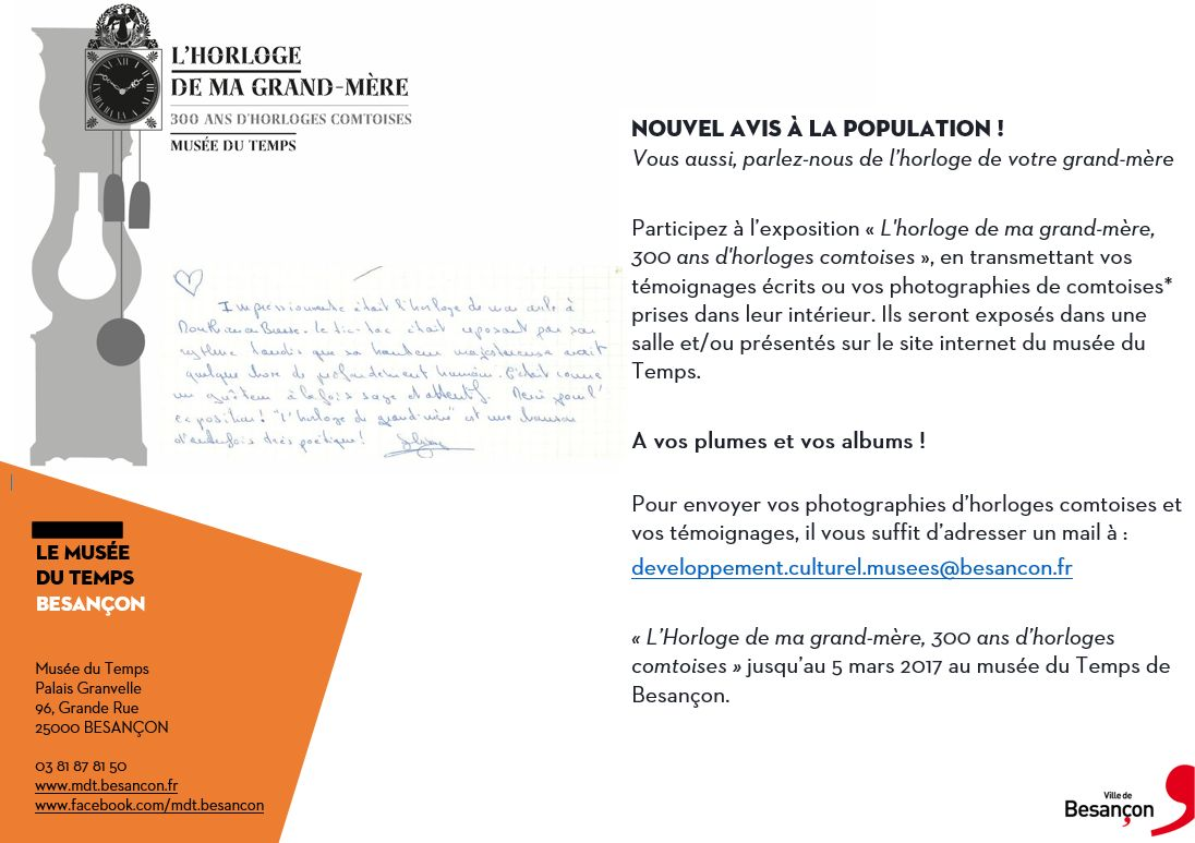 Recherche de témoignages – Musée du Temps – Besançon
