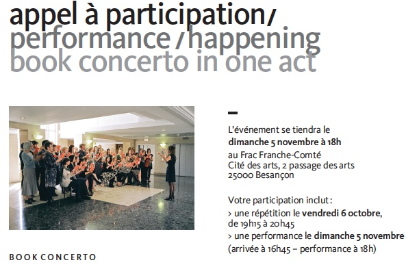 appel à participation / performance / happening book concerto in one act