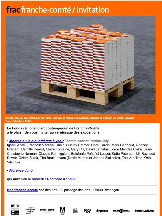 invitation au vernissage des expositions du frac franche-comté le samedi 14 octobre à 18h30