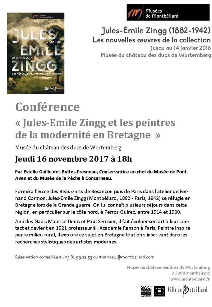"""""""Jules-Emile Zingg et les peintres de la modernité"""" – 16 novembre 2017 – Musée de Montbéliard"""