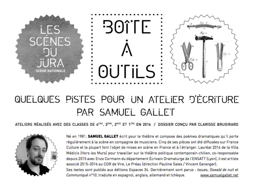 Quelques pistes pour un atelier d'écriture par Samuel Gallet