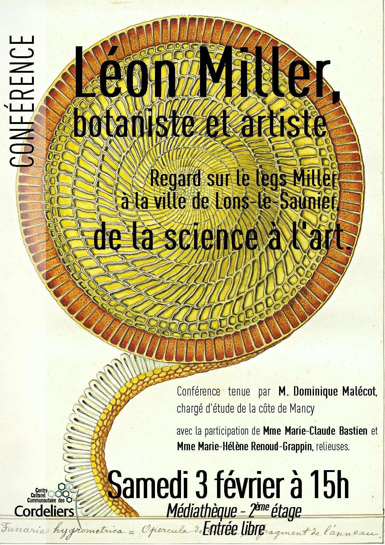 Conférence consacrée au botaniste Léon Miller – Lons le Saunier – Samedi 3 février 2018