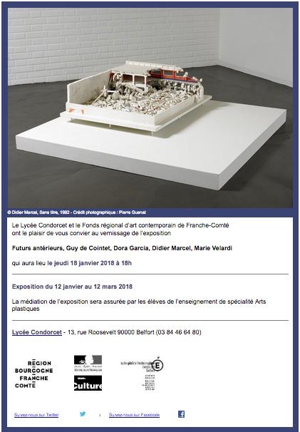 Futurs antérieurs, exposition Frac au Lycée Condorcet de Belfort du 12 janvier au 12 mars 2018