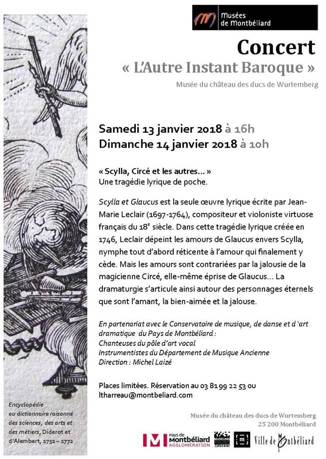 L'Autre Instant Baroque – 13 et 14 janvier 2018 – Musées de Montbéliard
