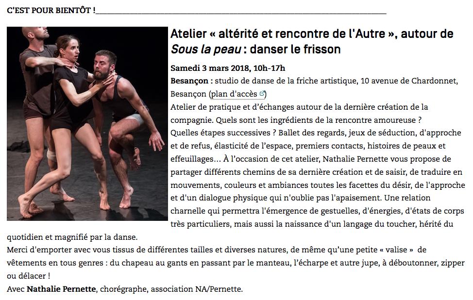 Danser le frisson : atelier de formation PREAC danse contemporaine et altérité – Mars 2018