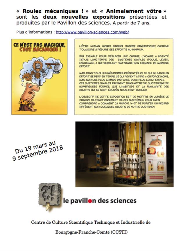 Animalement vôtre et Roulez mécaniques ! : 2 nouvelles expositions au Pavillon des Sciences