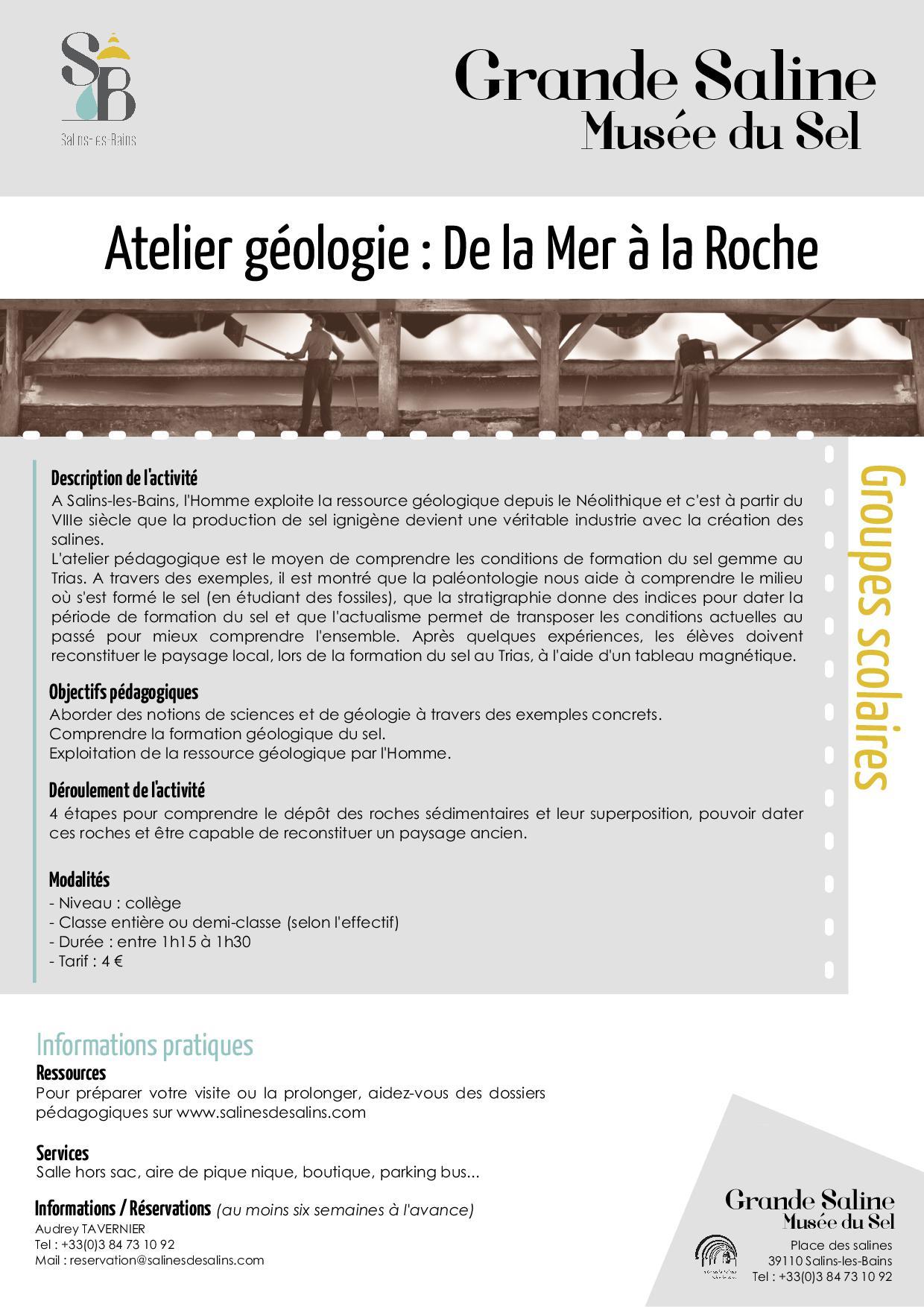Atelier Géologie : De la Mer à la Roche – Grande Saline de Salins-les-Bains