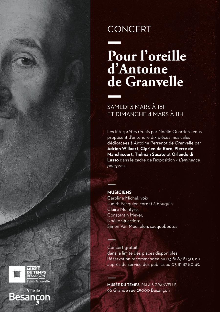 """Concert """"Pour l'oreille d'Antoine de Granvelle"""" – 3 et 4 mars 2018 – Musée du Temps"""
