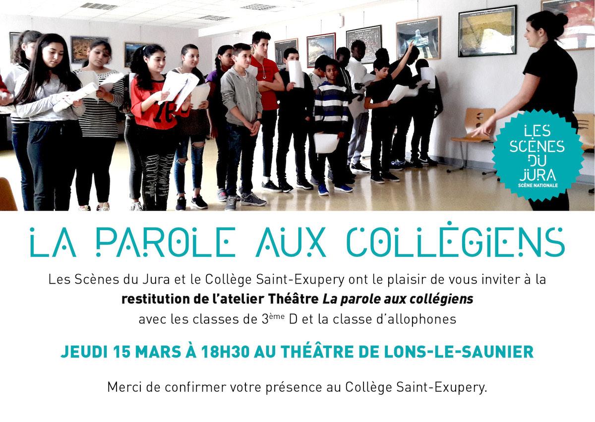 La Parole aux collégiens – Jeudi 15 mars 2018 à 18h30 au Théâtre de Lons le Saunier