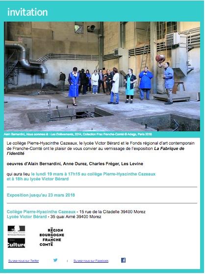 Invitation au vernissage de l'exposition La Fabrique de l'identité