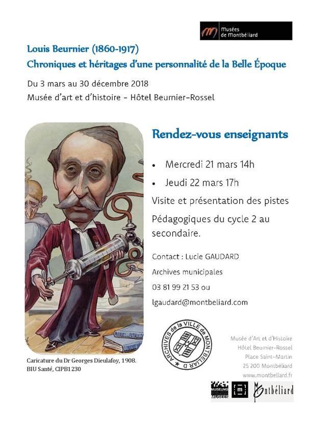 RDV Enseignants – Exposition Louis Beurnier – 21 et 22 mars 2018 – Musées de Montbéliard
