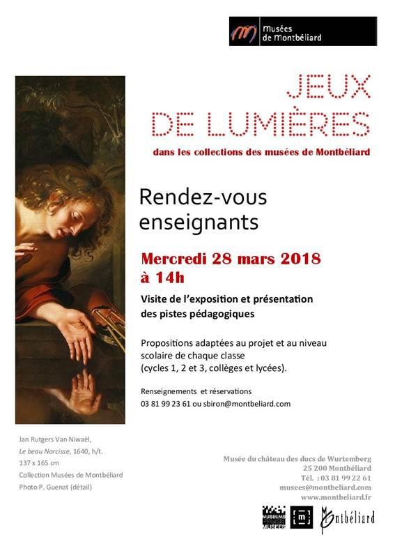 RDV Enseignants – Exposition Jeux de lumière – 28 mars 2018 – Musées de Montbéliard