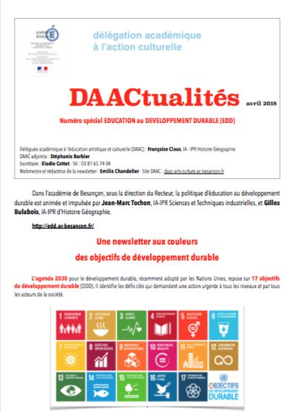 DAACtualités – Découvrez le numéro d'avril 2018 consacré à l'éducation au développement durable
