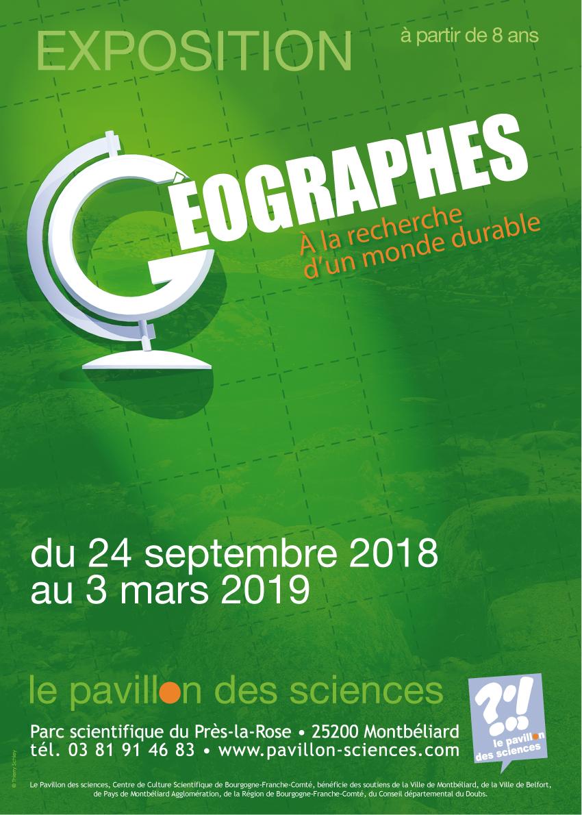 Pavillon des Sciences – Géographes – A la recherche d'un monde durable – Du 24 septembre 2018 au 3 mars 2019