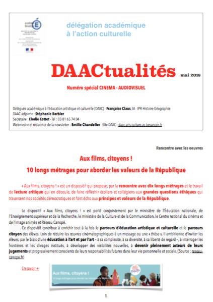 DAACtualités – Découvrez le numéro de mai 2018 consacré au cinéma