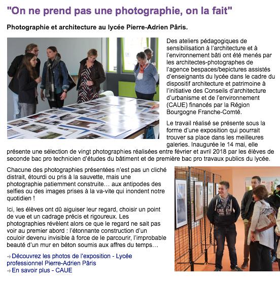Photographie et architecture au lycée Pierre-Adrien Pâris