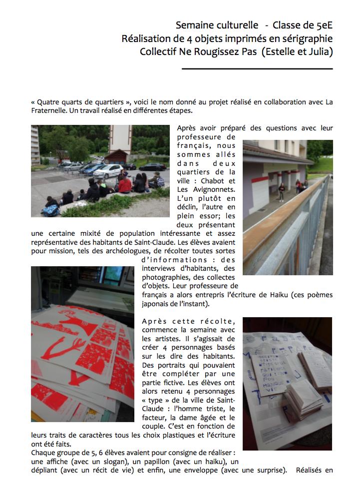 """Découvrez le projet """"Quatre quarts de quartiers"""" réalisé à la cité scolaire du Pré Saint Sauveur à Saint-Claude"""