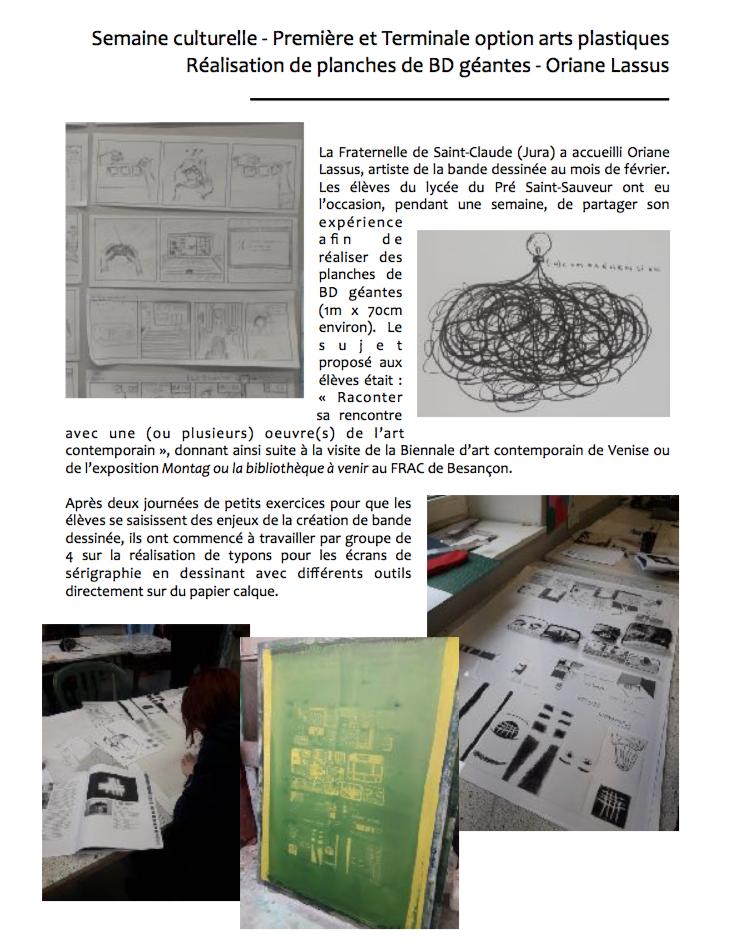 Réalisation de planches de BD géantes avec Oriane Lassus par les lycéens de Saint-Claude