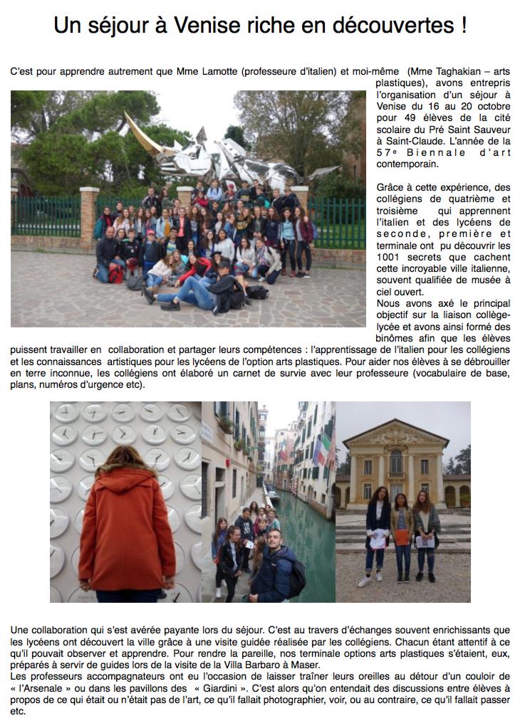 Les élèves de la cité scolaire de Saint-Claude découvrent Venise et la Biennale d'art contemporain