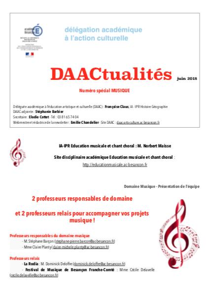 DAACtualités – Découvrez le numéro de juin consacré à la musique