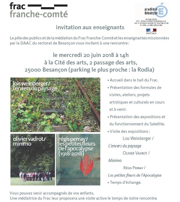 Invitation à la rencontre Enseignants / FRAC de Franche-Comté du mercredi 20 juin 2018