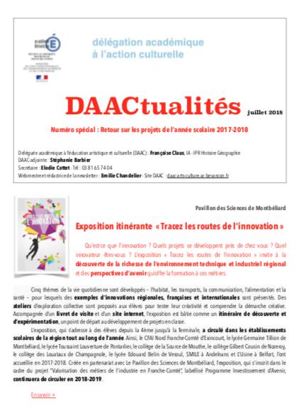DAACtualités – Découvrez le numéro de juillet consacrés aux projets artistiques, culturels et scientifiques 2017-2018