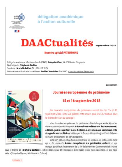 DAACtualités – découvrez le numéro de septembre consacré au patrimoine !