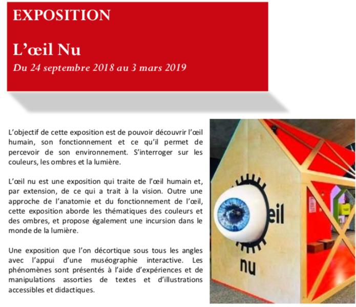 """Pavillon des Sciences : """"L'oeil nu"""" et """"Les géographes"""", 2 expositions à découvrir jusqu'au 3 mars 2019"""