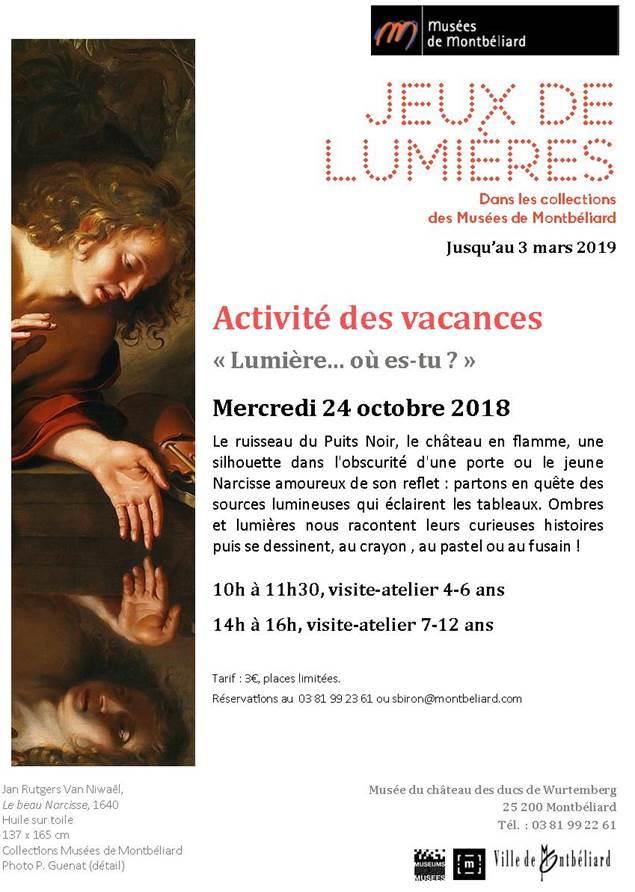 """Musées de Montbéliard – Activité des vacances : """"Lumière… où es-tu ?"""""""