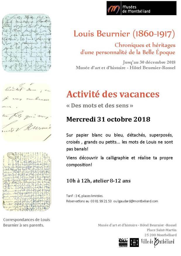 """Musées de Montbéliard – Activité des vacances : """"Des mots et des sens"""""""