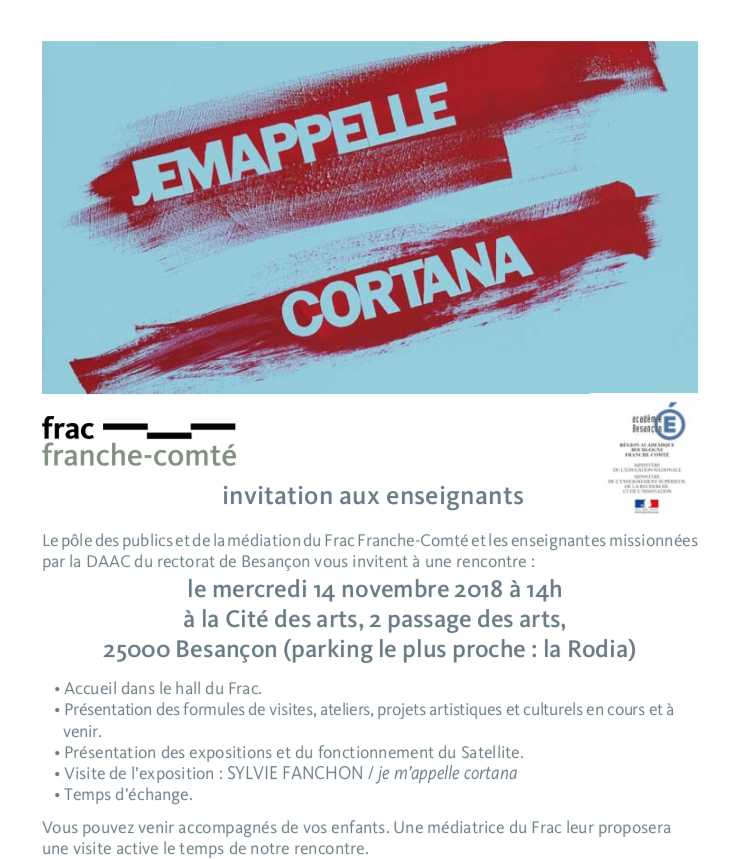 Après-midi enseignants au Frac Franche-Comté – Mercredi 14 novembre 2018