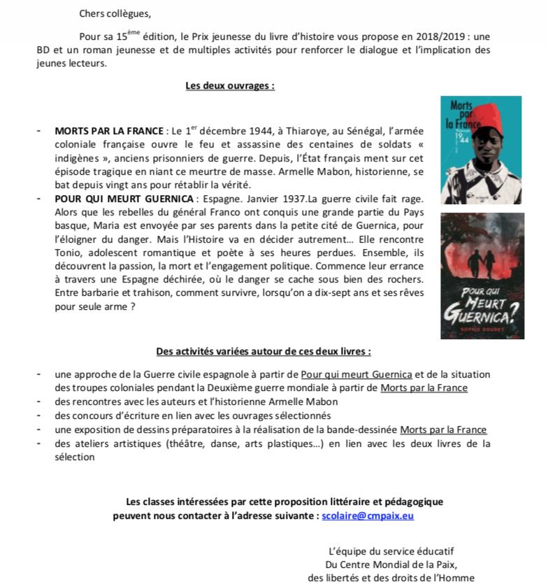 """15ème édition du Prix jeunesse """"Raconte-moi l'Histoire 2018-2019"""""""