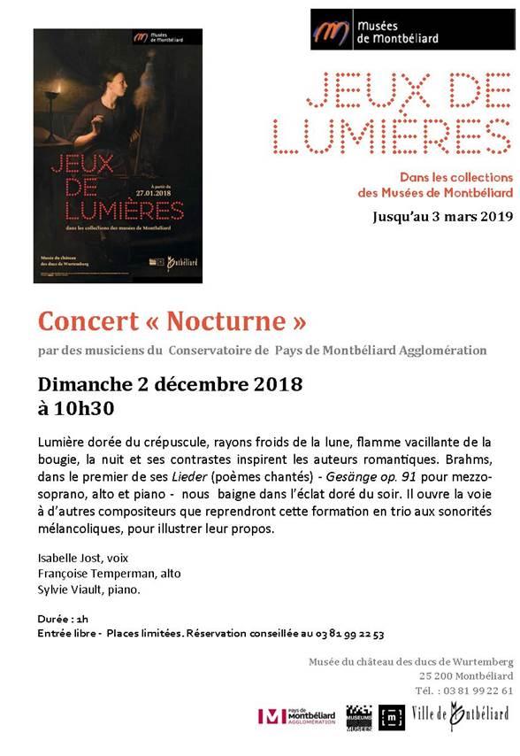 """Jeux de lumières – Concert """"nocturne"""" – Musées de Montbéliard – dimanche 2 décembre 2018"""