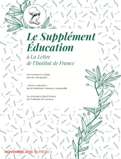 1er numéro du Supplément Education à La Lettre de l'Institut de France