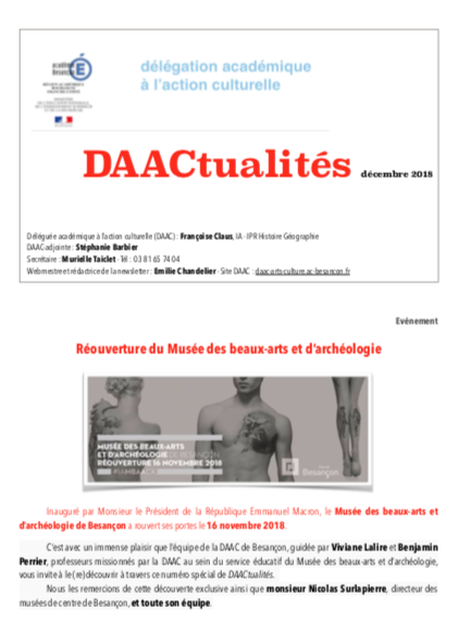 DAACtualités – Découvrez le numéro de décembre 2018