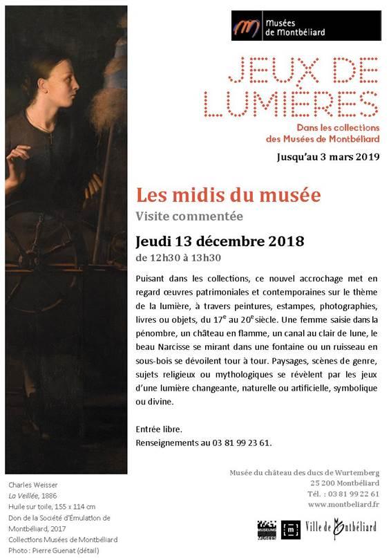 Musées de Montbéliard – Jeux de lumières – Les midis du musée – Jeudi 13 décembre 2018