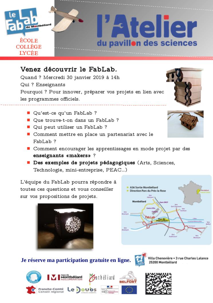 Découvrez le FabLab du Pavillon des sciences – Mercredi 30 janvier à 14h00
