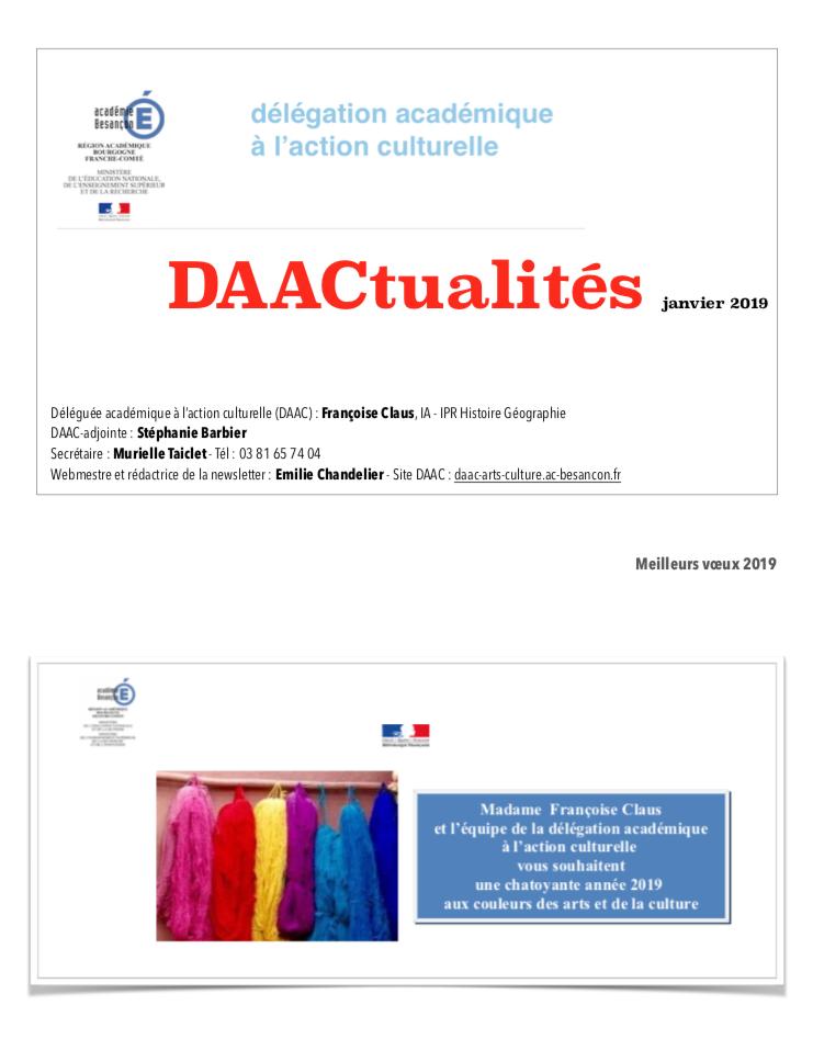 DAACtualités – Découvrez le numéro de janvier 2019