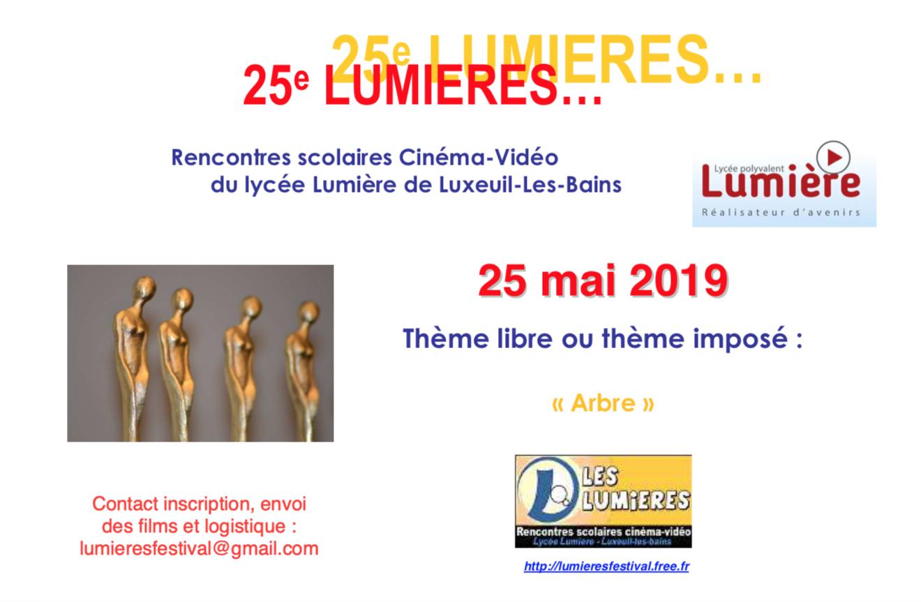 Les Lumières – Rencontre scolaires cinéma-vidéo du lycée de Luxeuil – 29 mai 2019