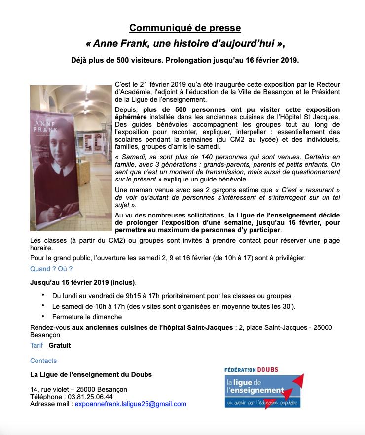 Anne Frank, une histoire d'aujourd'hui – Exposition prolongée jusqu'au 16 février 2019