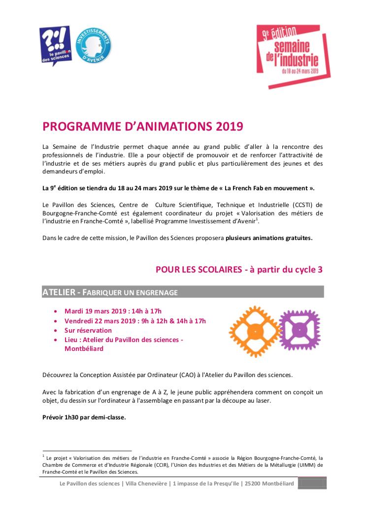 Pavillon des sciences – Programme des animations dans le cadre de la Semaine de l'industrie du 18 au 24 mars 2019