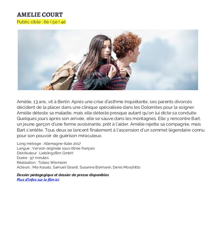 Ciné Allemand 2019 – Belfort – 3 films en allemand à destination des collèges et lycées