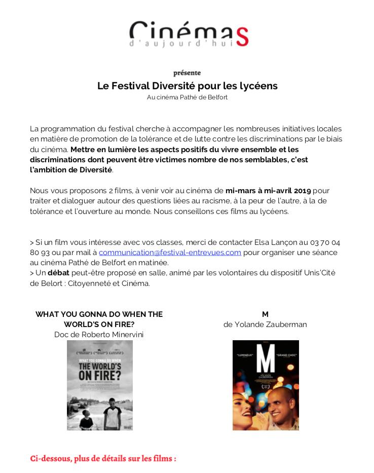 Le Festival Diversité pour les lycéens – Belfort