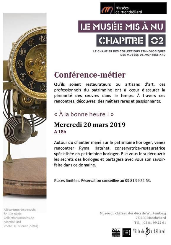 """Musées de Montbéliard – """"A la bonne heure"""", conférence-métier – Mercredi 20 mars 2019"""