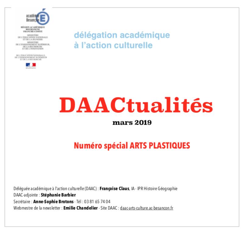 DAACtualités – Découvrez le numéro du mois de mars consacré au domaine Arts plastiques !
