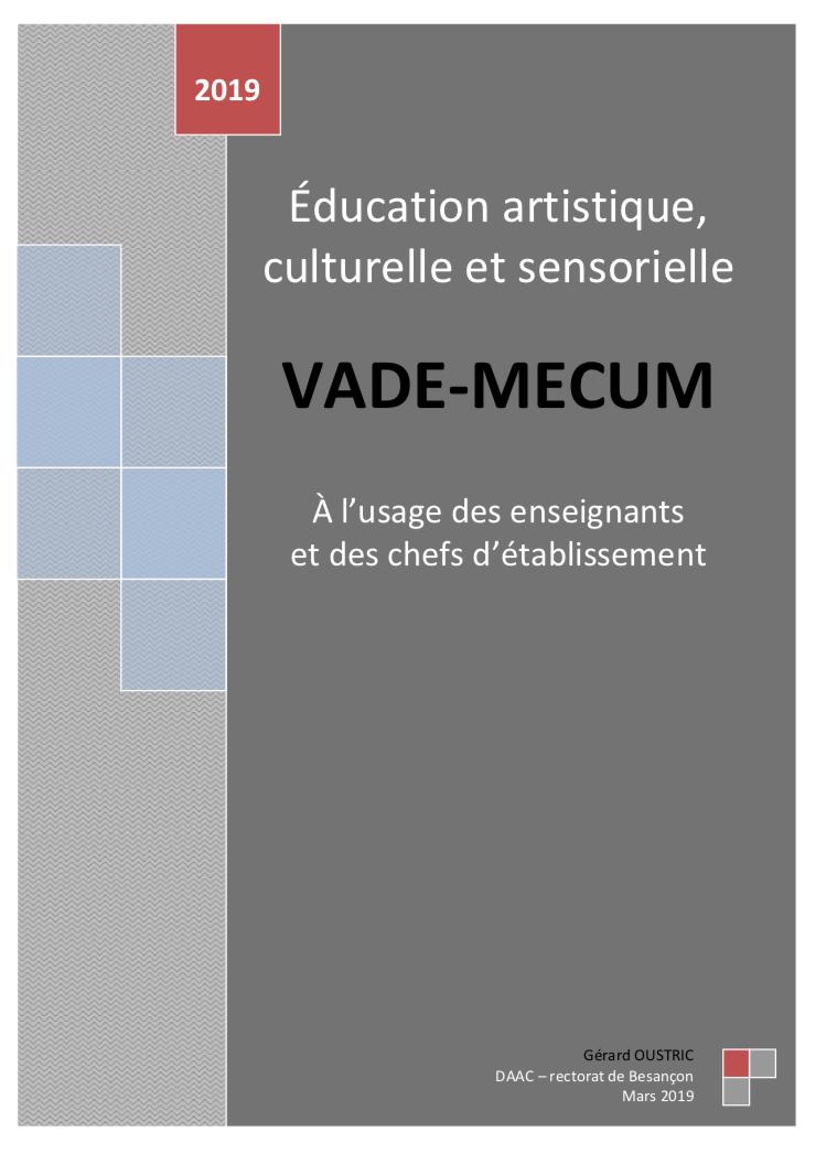 Education artistique, culturelle et sensorielle – Vade-mecum