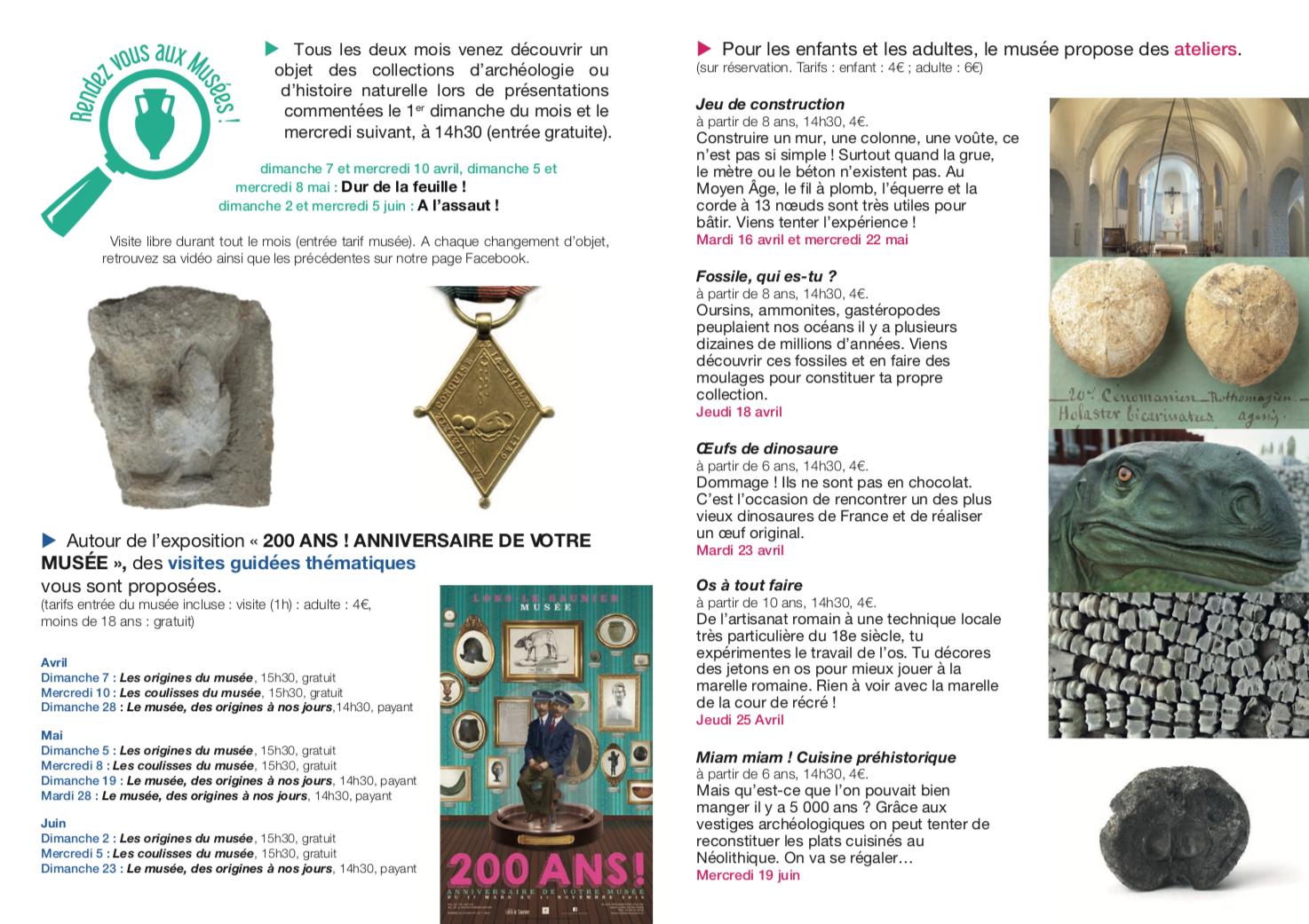 Musée de Lons le Saunier – Programme des activités avril-juin 2019