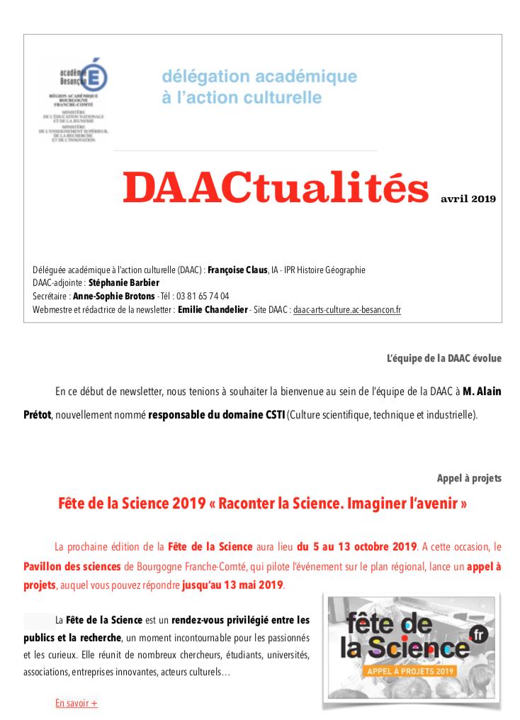DAACtualités – Découvrez le numéro d'avril 2019