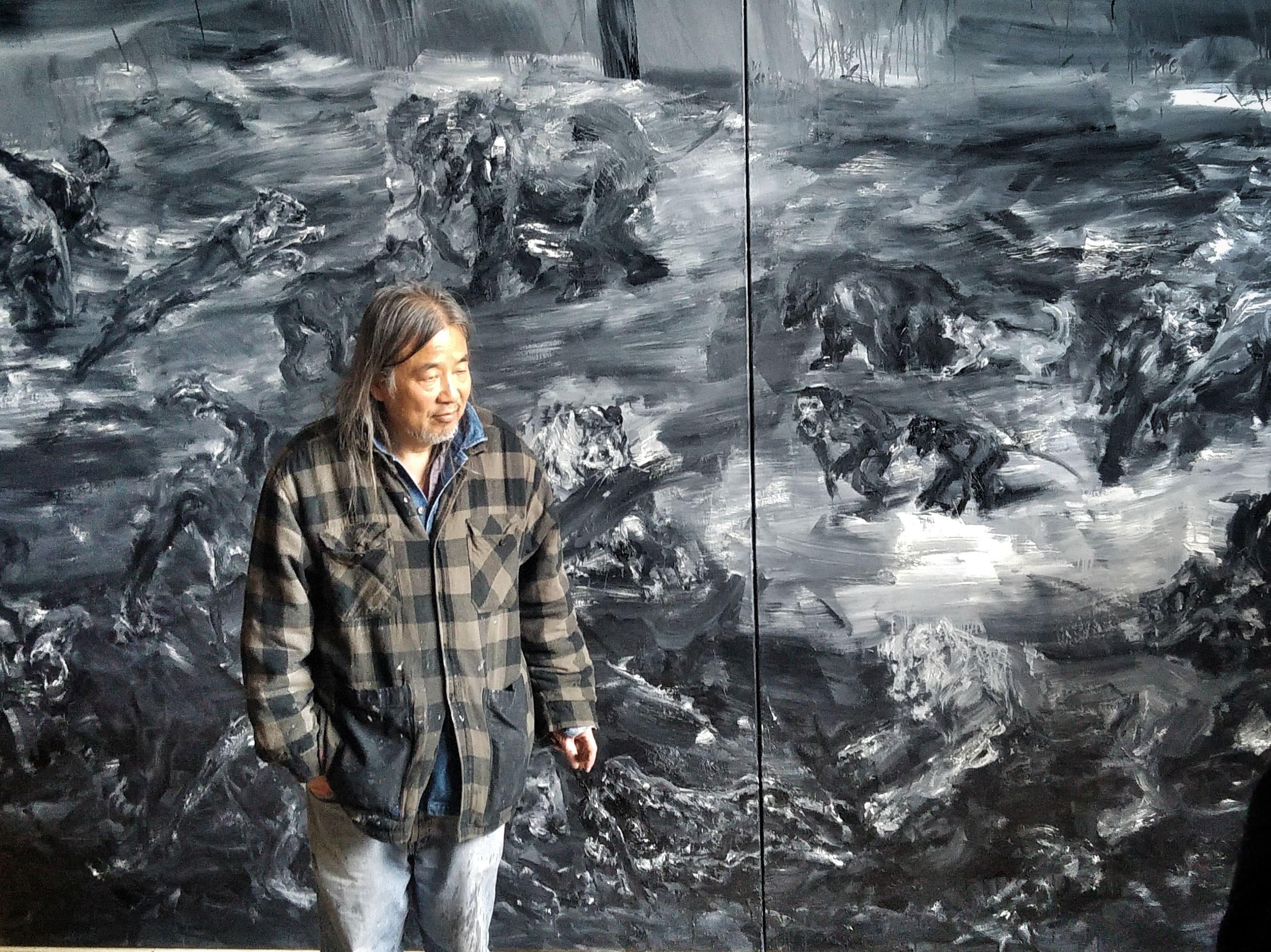 L'atelier du peintre: l'artiste Yan Pei-Ming rencontre à Ornans les professeurs d'arts plastiques du bassin de Pontarlier