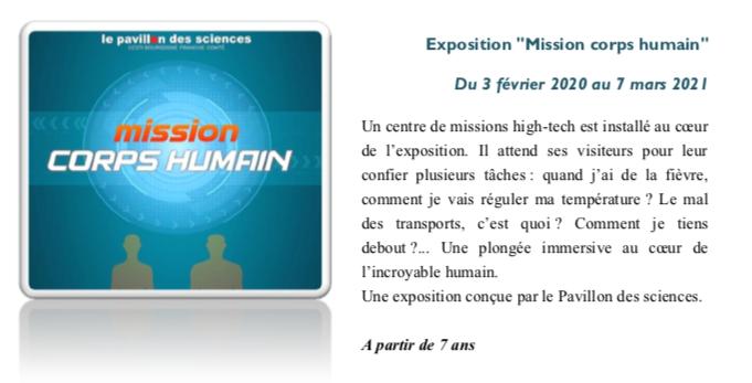 """Pavillon des sciences de Montbéliard – Exposition """"Mission corps humain"""" – Dès février 2020"""
